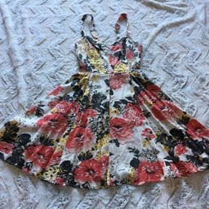 Kimchi Bleu floral mini sun dress with pockets